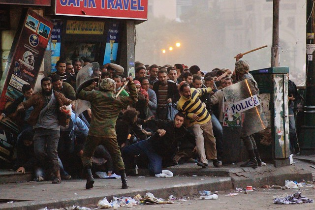 The Egyptian Army beating people in #Tahrir