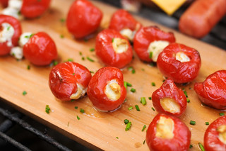 Planked Goat Cheese-Stuffed Peppadews