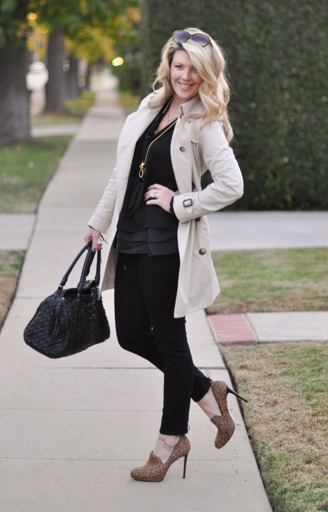 black on black with  burberry  trench and animal print shoes