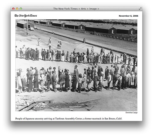 People of Japanese ancestry arriving at Tanforan Assembly Center