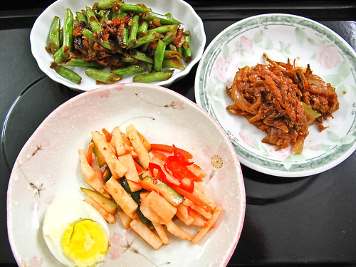 IMG_0614 Dinner : Hard boiled egg , pickles , ikan bilis belacan , fried french beans with bean paste