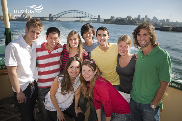 Navitas English Manly students on Manly ferry to the city