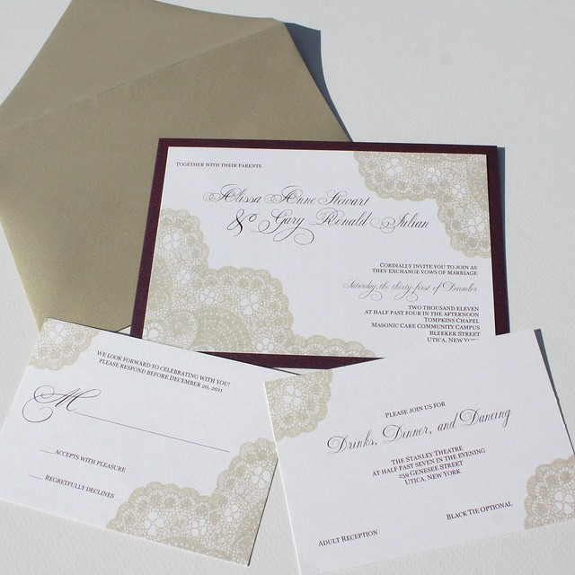 Gold Vintage Antique Lace Wedding Invitation Set for Alissa and Gary
