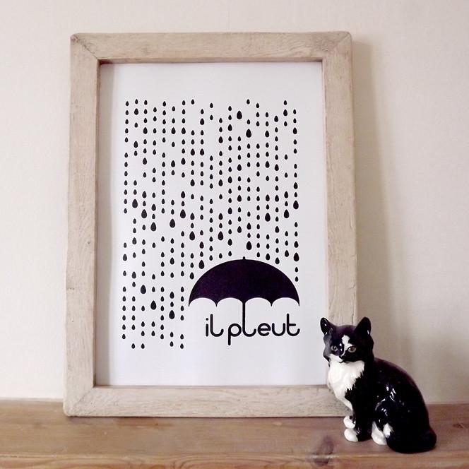 il pleut - Framed