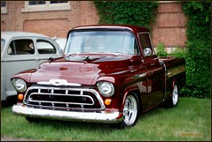 1957 chevrolet(0.0), automobile(1.0), automotive exterior(1.0), pickup truck(1.0), vehicle(1.0), truck(1.0), chevrolet task force(1.0), chevrolet advance design(1.0), antique car(1.0), vintage car(1.0), land vehicle(1.0), motor vehicle(1.0),
