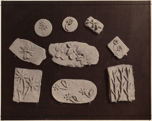 Nine examples of clay modelling from a kindergarten