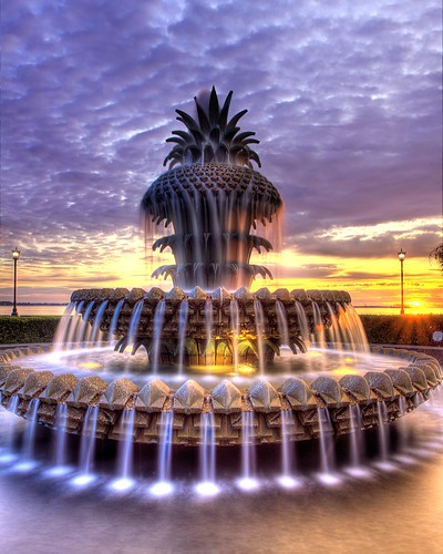 park fountain sunrise waterfront south charleston pineapple carolina hdr