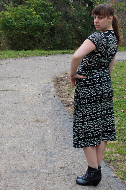 "Outfit - Urban outfitters ""new length"" dress with peek-a-boo sides, missoni for Target T-shirt, Payless pirate booties"