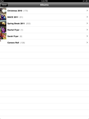 Down to 138 photos and videos on the iPad