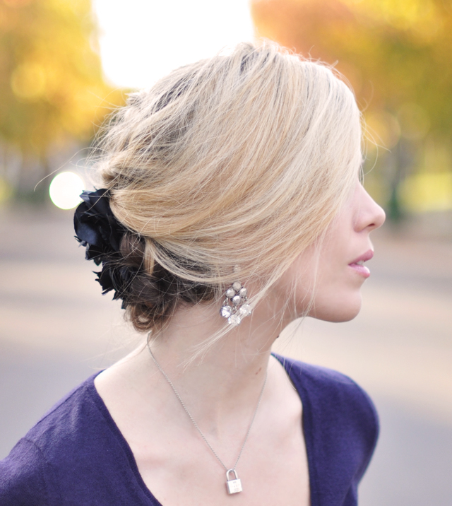 pretty hair updo with flower