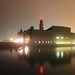 NY Waterway ferry slips shrouded in fog Hoboken NJ