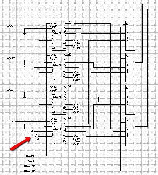 レジスタとデータセレクタのテストをしてみるため、4つめのレジスタに直接入力を付ける
