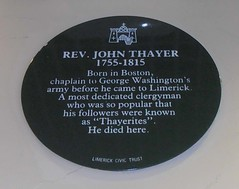 Photo of John Thayer green plaque
