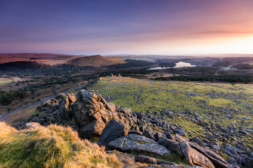 sunset lake beauty landscape britain reservoir tor dartmoor burrator leathertor