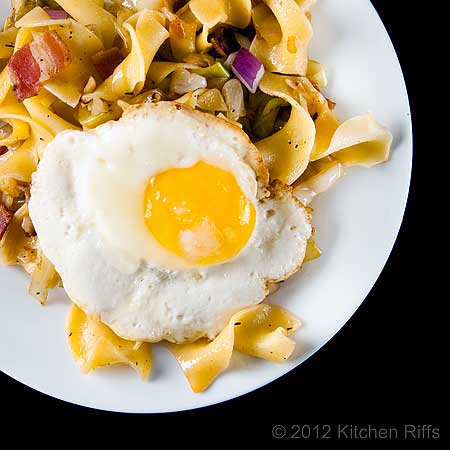Hungarian Noodles and Cabbage with Bacon, Fried Egg Garnish, Overhead View