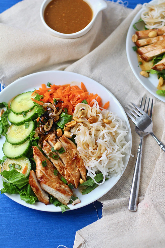 Rice Noodle Salad with Chicken and Peanut Vinaigrette