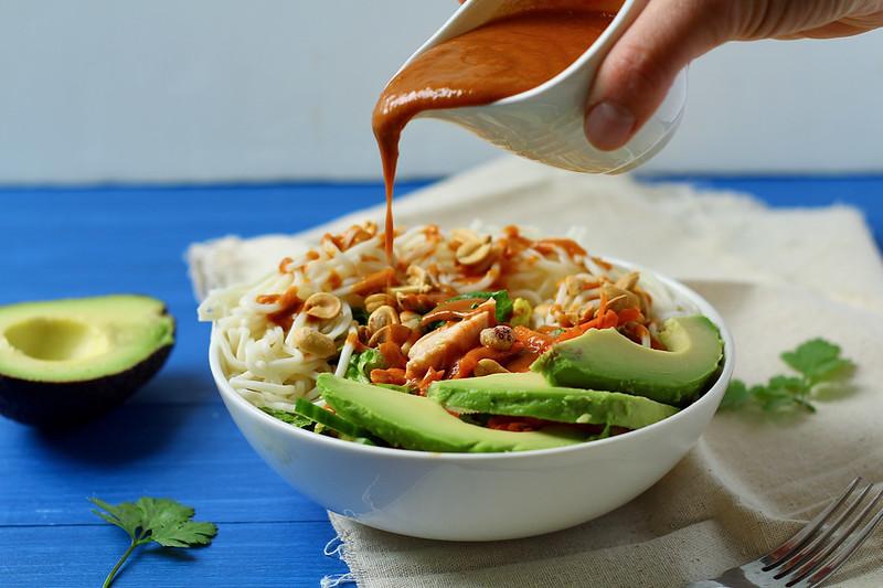 thai peanut chicken ramen noodle salad
