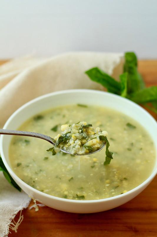 fresh corn and basil soup
