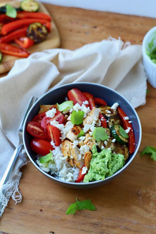 California Chicken, Veggie, Avocodo and rice bowls
