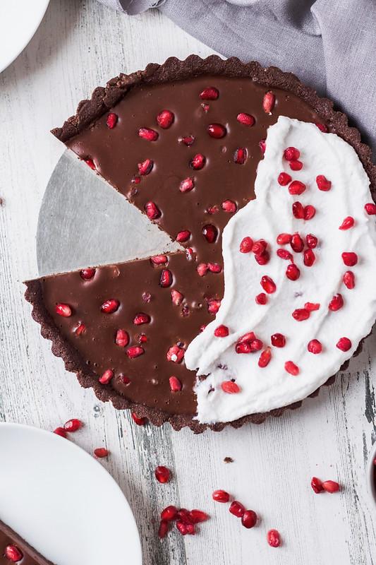 Vegan Chocolate Pomegranate Tart