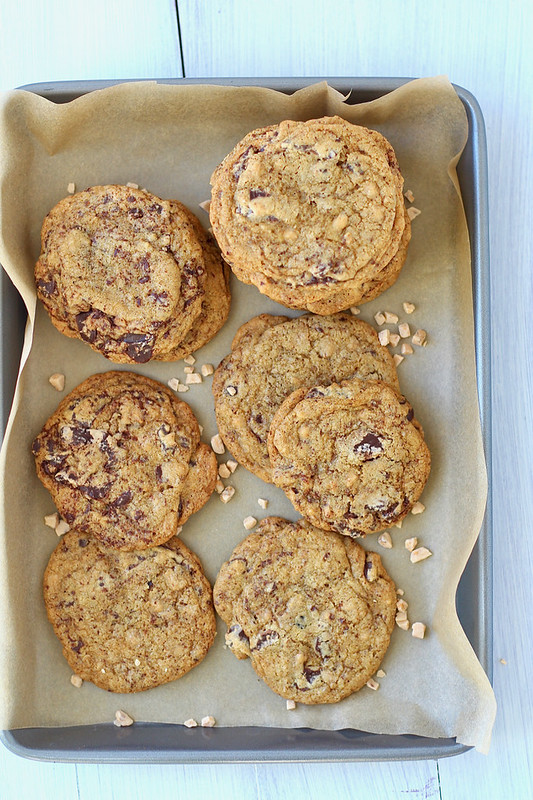 Toffee espresso chocolate chip cookies
