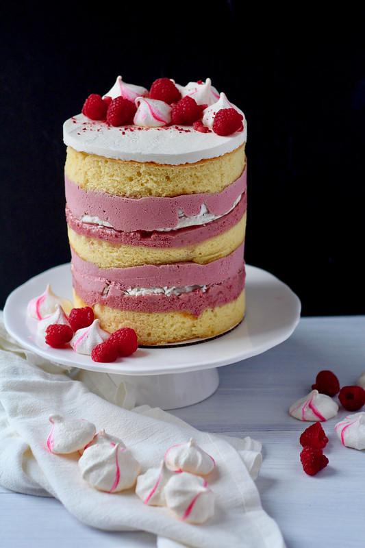 Raspberry Pomegranate Hibiscus Meringue Cake