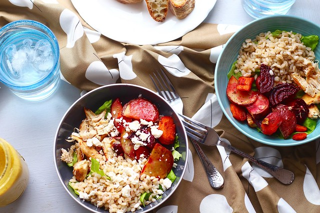 roasted veggie, chicken and barley salad